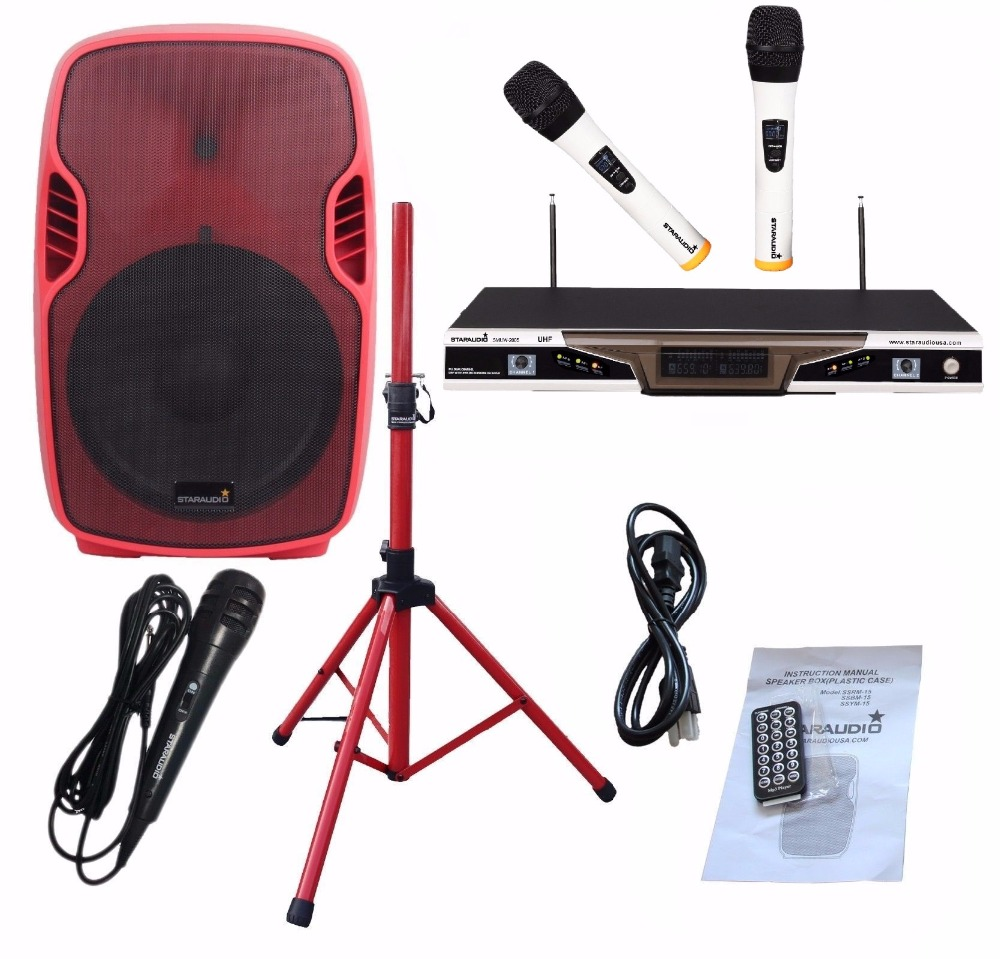 STARAUDIO SSRM-15 1Pc Red 15 PA DJ Stage 3500W Powered Active Bluetooth Speaker W/ Stand 2CH UHF Mics