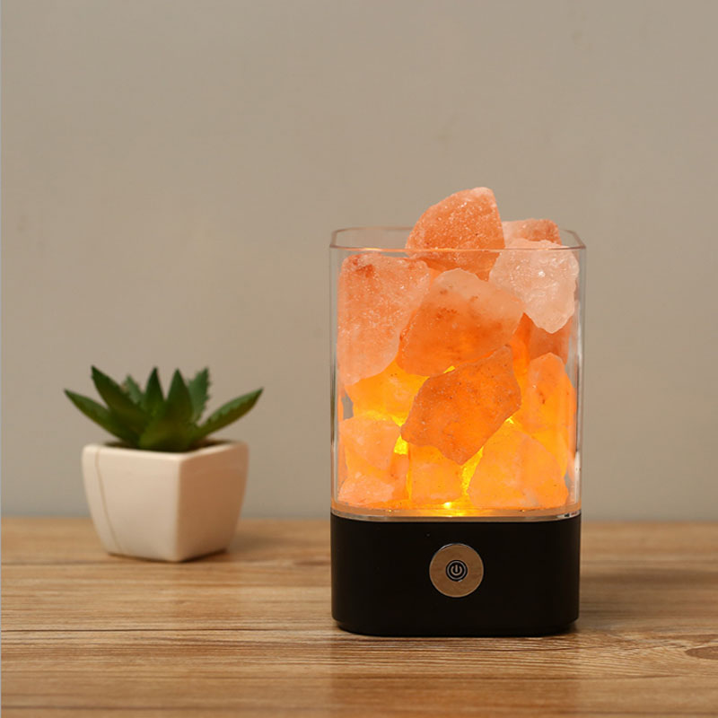 8pieces Lava Lamps Himalayan Salt Lamp Crystal Salt Stone Air Purification Salt Lamps Promote Sleep Bedroom LED Night Lights