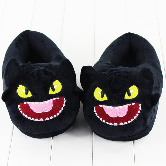 5baf80a9f94 30cm Toothless Night Plush Fury Shoes Stuffed Slipper Winter Indoor Warm at Home  Slippers