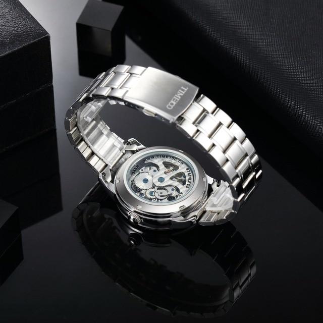 TIME100 - Mechanical Self Wind Skeleton Watch Stainless Steel 5