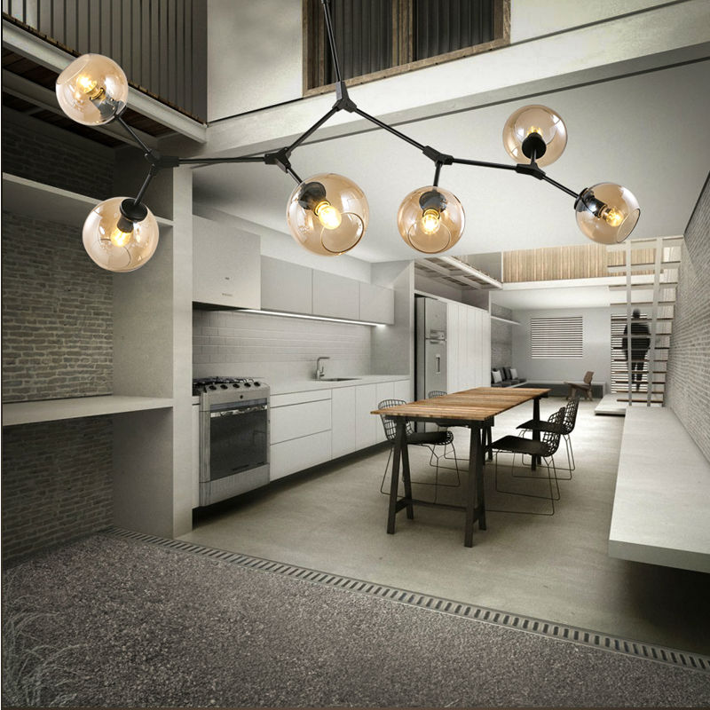 modern led pendant lights lamp for living room Restaurant suspension luminaire Light Fixture with E27 6x5W LED bulbs Black