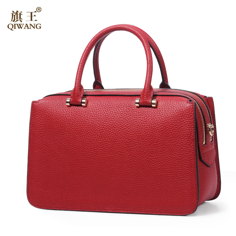 QIWANG 100% Genuine Leather Bag Boston Red Cowhide Leather Handbags New Trunk Handbag High Quality with Top Double Zipper Bag high quality authentic famous polo golf double clothing bag men travel golf shoes bag custom handbag large capacity45 26 34 cm