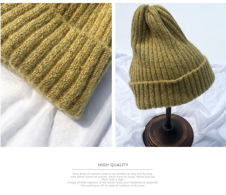 beanie women winter hats for women thick wool skullies beanies for ladies winter beanie hat solid pink black women hats winter hat  (6)