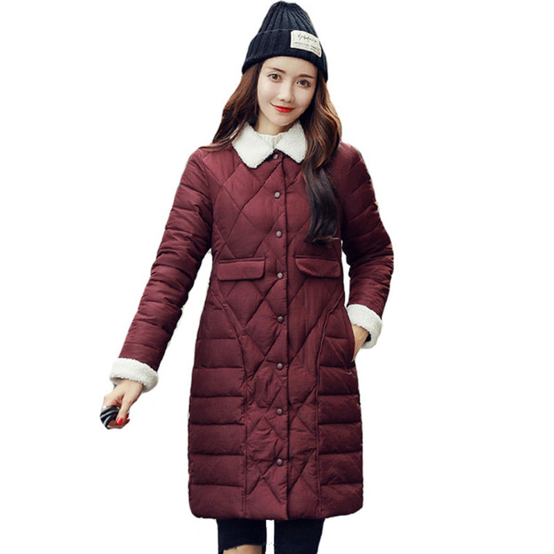 Breasted Buttons 2019 Women Winter Jacket Turn-down Collar Female Long Padded Coat Autumn   Parka   Ladies