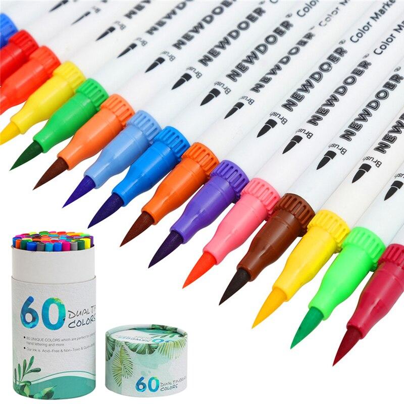 shuttle art  Shuttle Art 60 Colors Dual Tip Brush Pens Art Markers,Brush Tip with ...