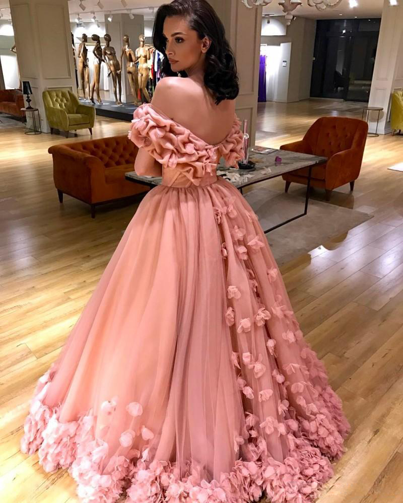 Off The Shoulder Pink Prom Dresses 3d Floral Appliques A Line 2017