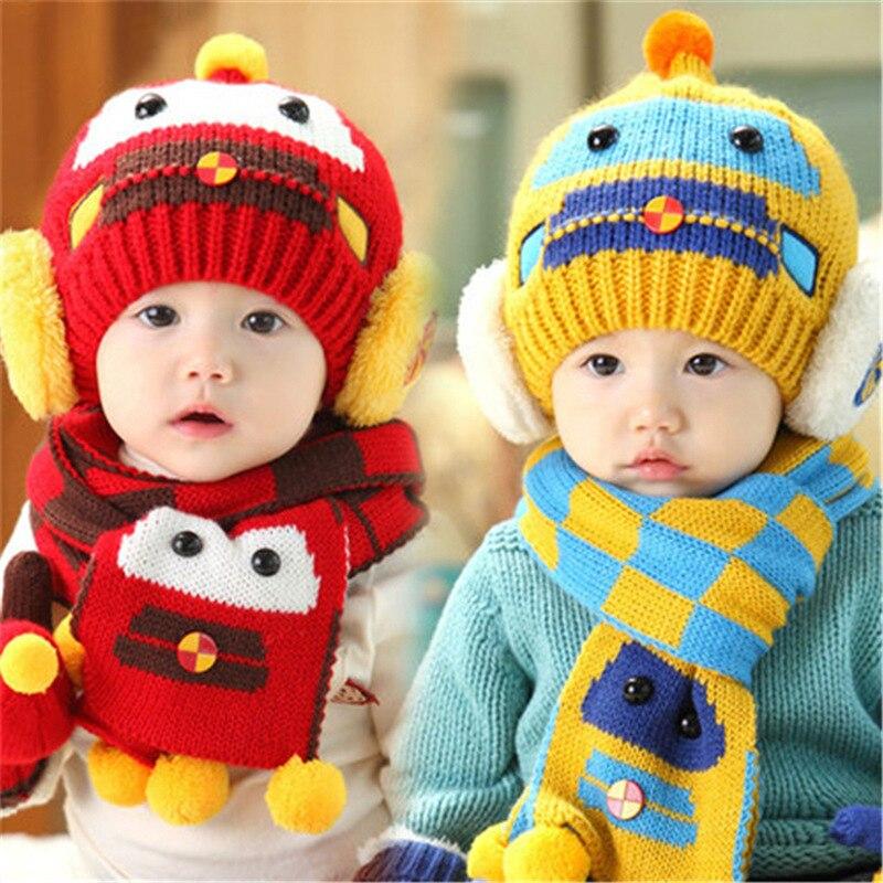 Мальчики и девочки мультфильм милый шерсть шляпа дети осень и зима бомбардировщик шляпа шарф из двух частей малыша Милый мультфильм теплый вязать cap