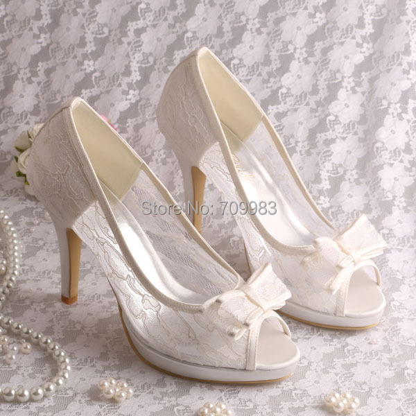 (15 Colors)FREE SHIPPING Ivory Lace High Heels Wedding Shoes Bridal Open Toe  with Bowtie Size 37-in Women s Pumps from Shoes on Aliexpress.com  85a10417c540