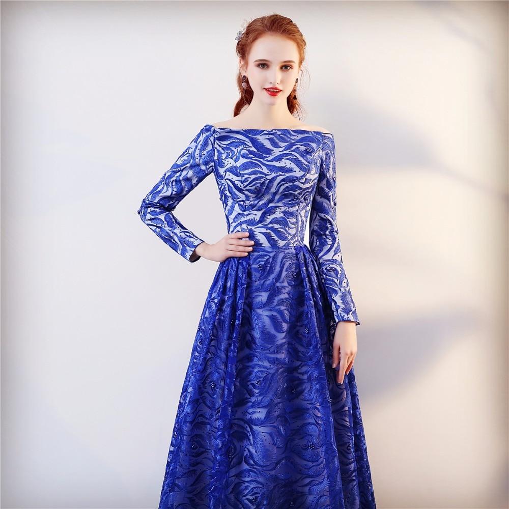 Echte foto lange mouwen formele avondjurk blauwe elegante lange prom - Jurken voor bijzondere gelegenheden - Foto 3