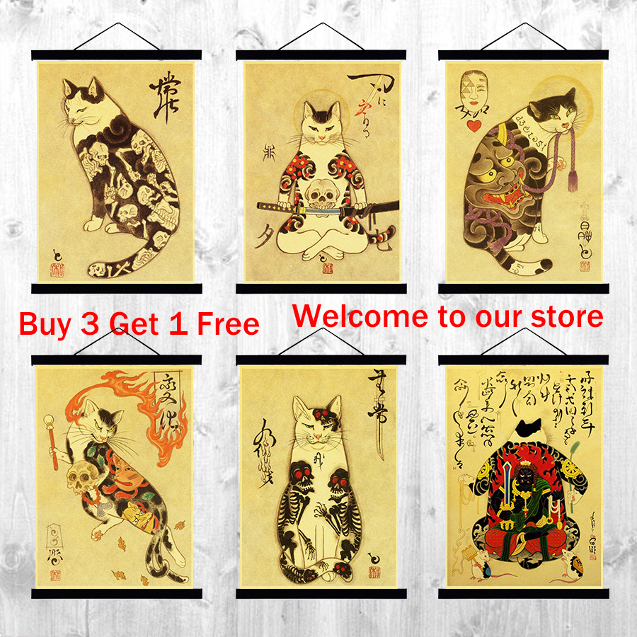 Japanese samurai cat tattoo cat retro printed poster vintage wall ...