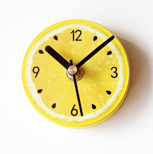 Fruit Yellow Lemon Kitchen Clock Fridge Magnet Clocks