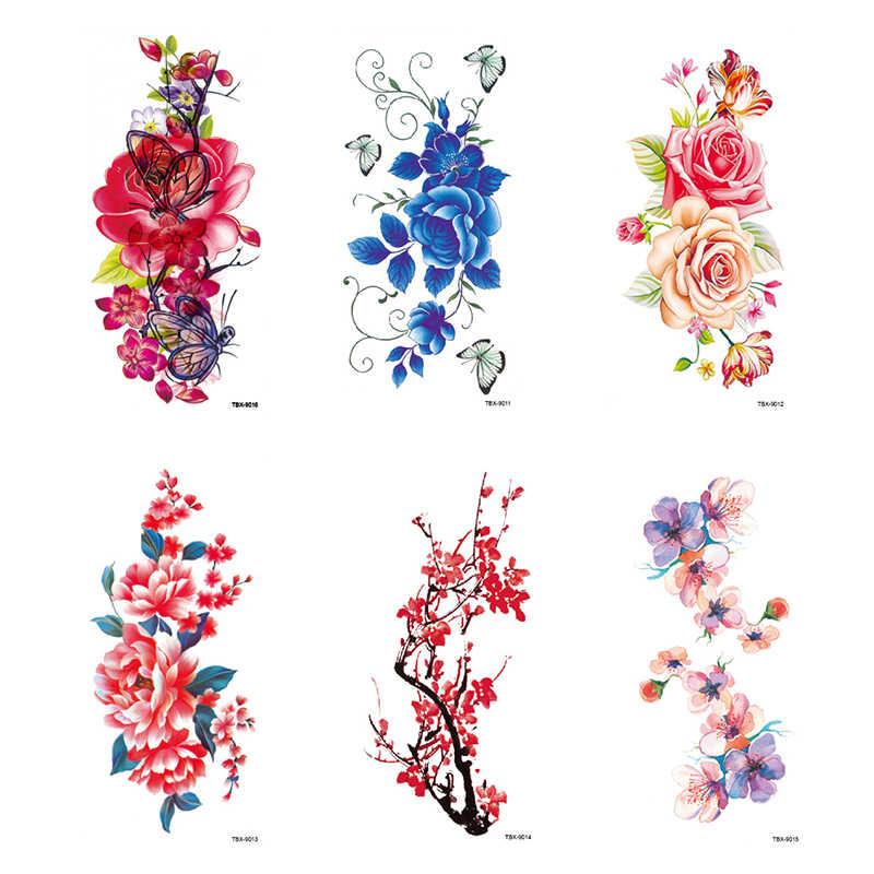 24 สีประดิษฐ์ดอกไม้ Tattoo สติกเกอร์แฟลช Henna Tattoo ปลอมรอยสักชั่วคราวกันน้ำ Disposable Body Art Tattoo