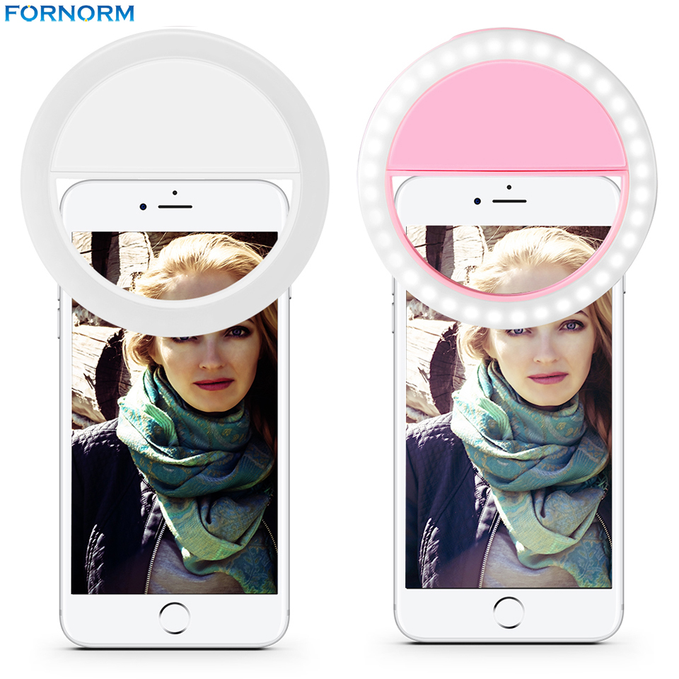 Rechargeable 36 LED Smartphone Selfie Ring Light Fill Lights 4 Modes Srtobe Clip for iPhone 7