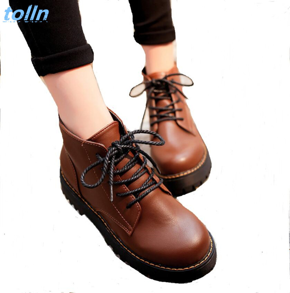 2017 Autumn winter Women Ankle Boots platform Heels Lace up Casual Shoes Woman Retro Oxfords Black Brown Autumn Boots Female 40 fall flat black waterproof 2017 women shoes retro front lace up casual ankle boots autumn patent leather chunky booties vintage