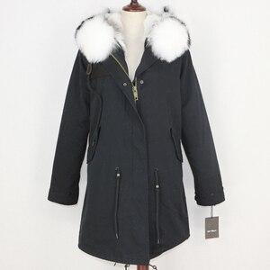 Image 3 - OFTBUY 2020 חורף מעיל נשים אמיתי פרווה מעיל ארוך Parka טבעי דביבון פרווה צווארון ארנב פרווה אניה עבה חם Streetwear חדש