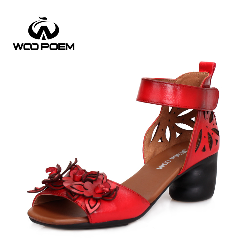 ФОТО WooPoem Summer Shoes Women Cow Leather Shoes Breathable Hollow Sandals Wedges Casual Shoes Retro Fashion Flowers Sandals 835