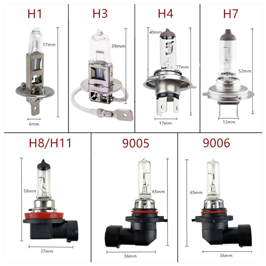 Car Halogen Bulb 12V 55W Clear 1PCS H1 H3 H4 H7 H8 H11 9005 HB3 9006 HB4 100W Car Headlight Lamp Fog Lamps External Lights 4300K