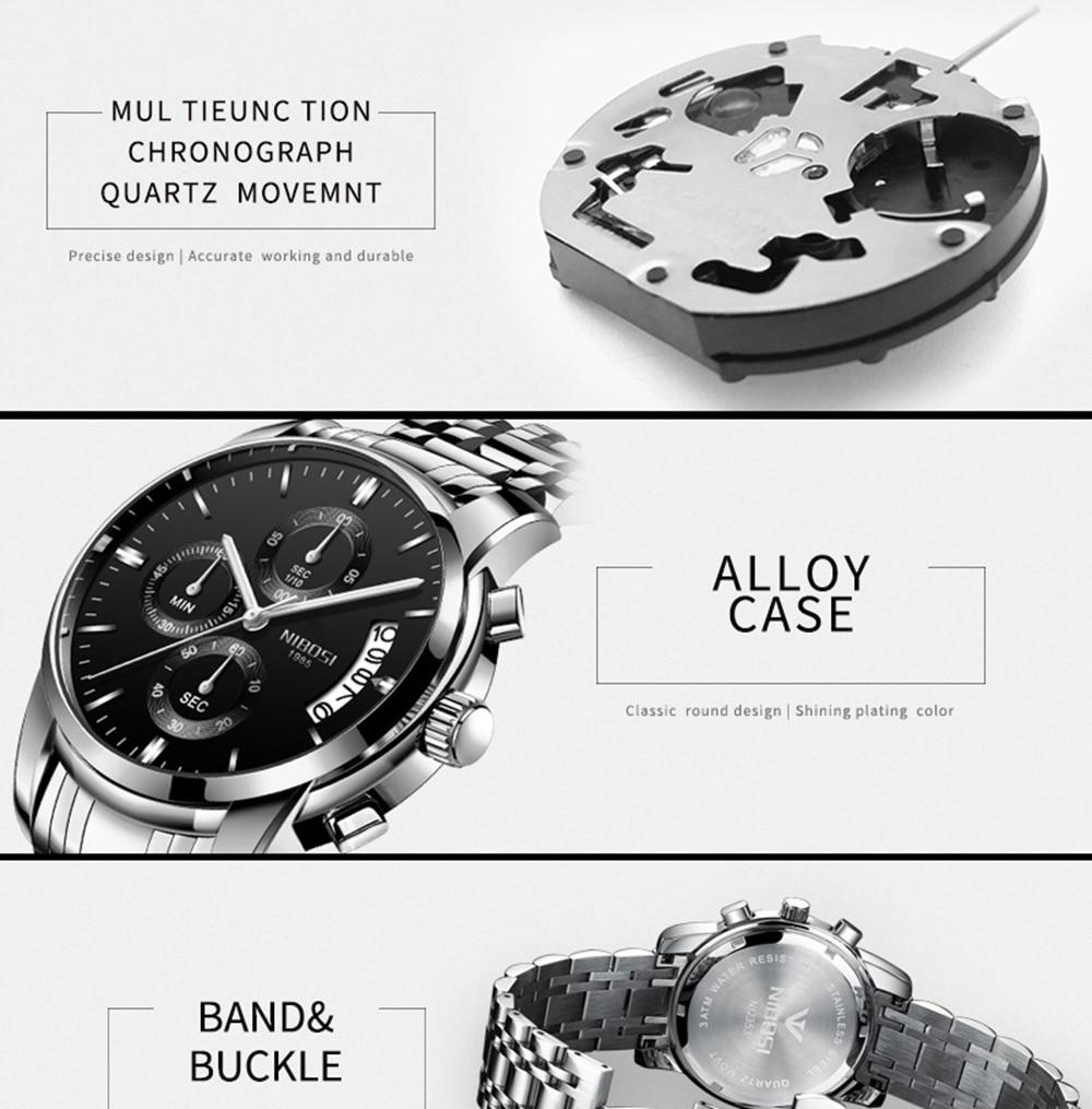 NIBOSI Mens Watches Top Brand Luxury Premium Luxury Fashion Luminous Waterproof Watch High-end Calfskin Pure Steel Strap Blue    (3)