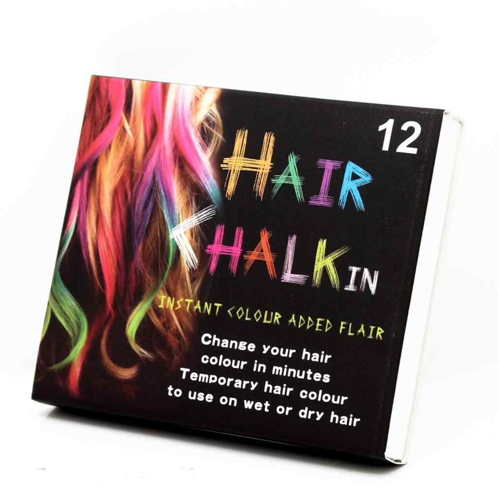 2019 Nova 12 Cores Não-tóxico Temporária Salon Kit Pastel Chalk Cabelo Curto Cor de Giz Dye Pastels Salon Kit