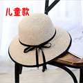 Fashion Straw Hats For children Sunshine girl's Summer Foldable Butterfly Knot Headwear Straw Hats Beach Hot Selling 4 Colors