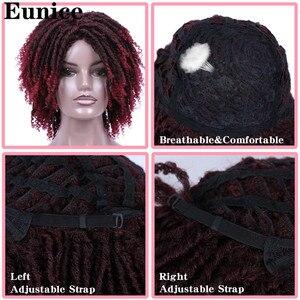 Image 5 - קצר סינטטי פאות עבור נשים יוניס שיער 14 רך ראסטות פאת שיער Ombre שחור באג סרוגה צמות פאות חום עמיד פאות