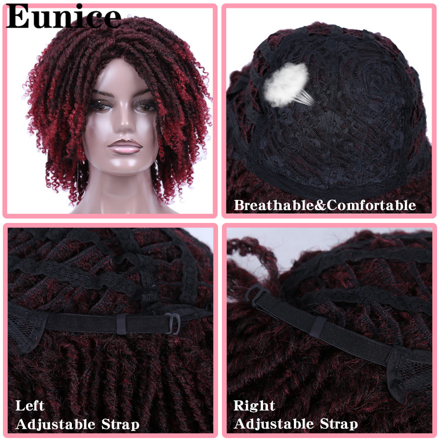 Image 5 - Short Synthetic Wigs For Women Eunice Hair 14'' Soft Dreadlocks Hair Wig Ombre Black Bug Crochet Braids Wigs Heat Resistant Wigs-in Synthetic None-Lace  Wigs from Hair Extensions & Wigs