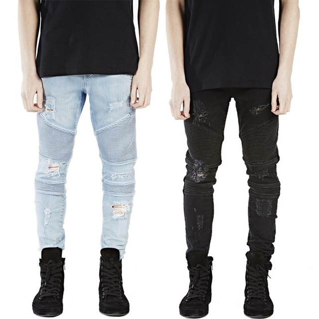 5cad471161ef high Quality Slim Pleated Stereoscopic motorcycle elastic jeans Men  European American Hip Hop Skinny Ripped BIKER JEANS size 40