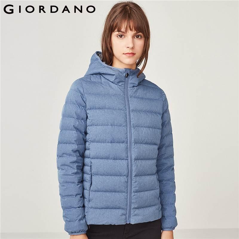 Kadın Giyim'ten Şişme Montlar'de Giordano Kadın şişme ceket kadınlar Kalite 90% Beyaz Kaz Tüyü Hood Hafif Aşağı Ceket Iyi Dikişler Zip Fly Packable Tasarım'da  Grup 1