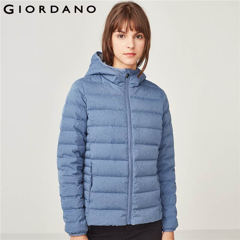 US $74.98 68% OFF|Giordano Women Down Jacket Women Quality 90% White Goose Down Hood Lightweight Down Jacket Well Seams Zip Fly Packable Design in