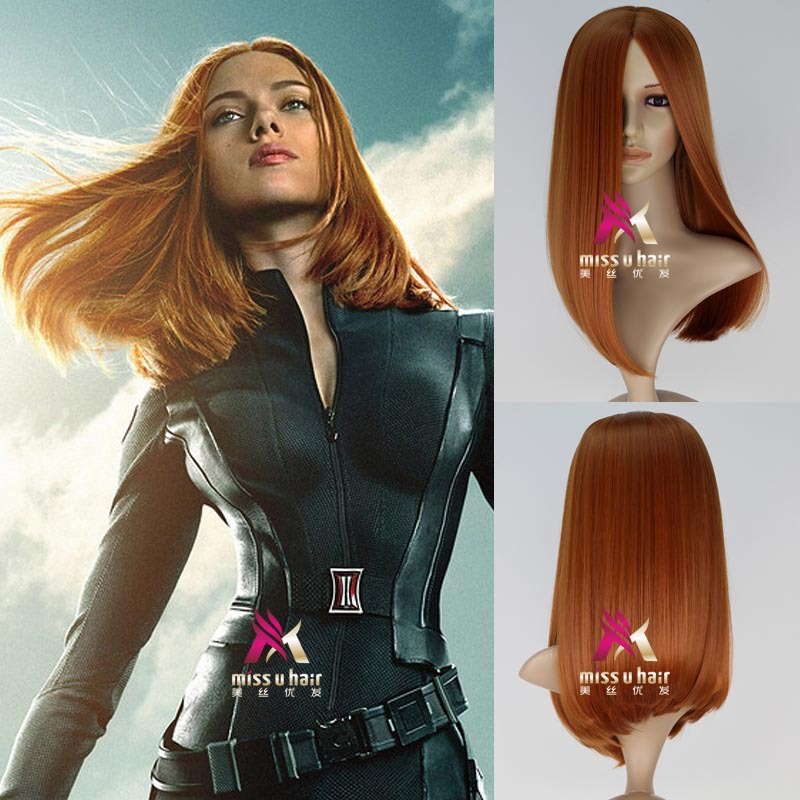 Movie Captain America Black Widow Orange Wig Scarlett Johansson Orange Straight Hair/wig Role Play Hair Costumes Free Shipping
