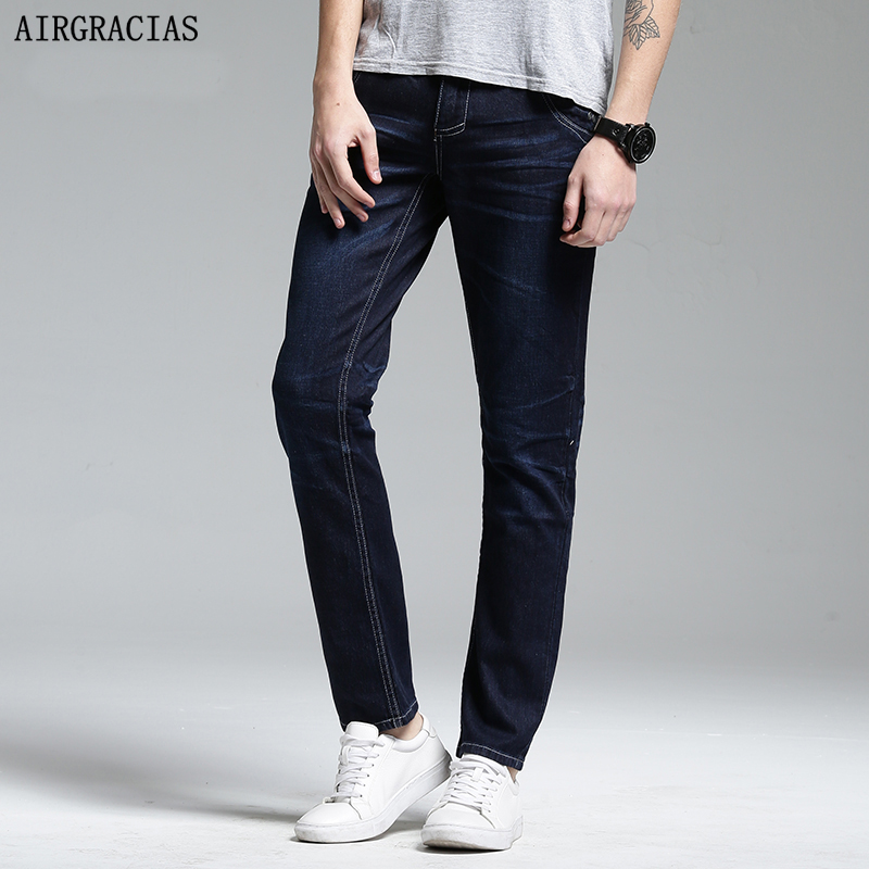 AIRGRACIAS High Quality Brand Mens Jeans Dark Color Denim Cotton Jeans For Men Fashion Designer Biker Jean Size 28-38 airgracias elasticity jeans men high quality brand denim cotton biker jean regular fit pants trousers size 28 42 black blue