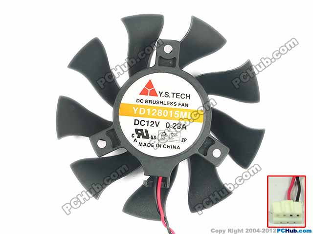 Emacro For Y.S TECH YD128015ML Server Cooling Fan DC12V 0.23A 75x75x15mm 2 wire