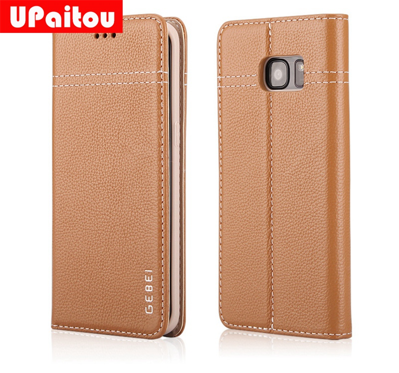 UPaitou Luxury Handmade Genuine Leather Case for Samsung Galaxy S7 G930F/S7 Edge G935F Flip Wallet Case Card Holder Phone Cover