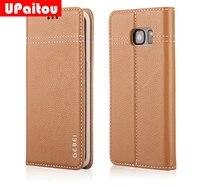 UPaitou Main De Luxe Véritable Étui En Cuir pour Samsung Galaxy S7 G930F/S7 Bord G935F Flip Pochette Titulaire de la Carte Couverture de téléphone