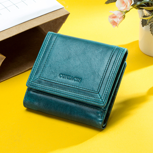 Image 5 - Contacts Brand Designer Women Wallets Genuine Leather Coin Purse Wallet Short Carteras Quality Card Holder Money Bag for Girls