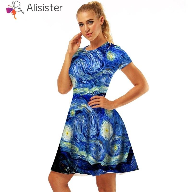 Detail Feedback Questions about Van Gogh Starry Sky Skull 3d Print Dress  Women Short Sleeve O Neck Mini A line Swing Vestidos 2018 New Casual Dresses  on ... 5abd733b0dd2