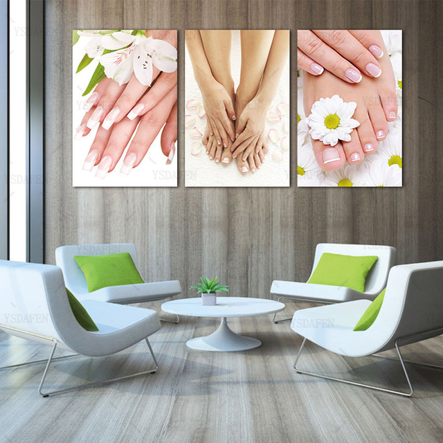 3 panels framed canvas photo prints spa nail foot massage salon wall art picture canvas paintings