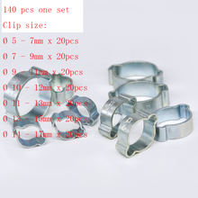 Free shipping pipe clamp MTGATHER 140PCS Assorted Double Ear O Clips Steel Zinc Plated Hydraulic Hose Fuel Clamps New Arrival 140pcs double ear steel o clips clamps steel zinc plated assortment for hydraulic hose fuel o type pipe ear tube clamp