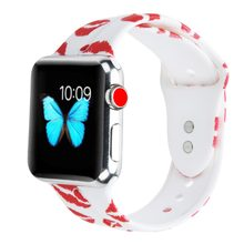 Bemorcabo Soft Silicone Printed Flower Watch Band Wristbands for Apple Watch 4 3 2 1 aple watch band 38mm 42mm 44mm bracelet(China)
