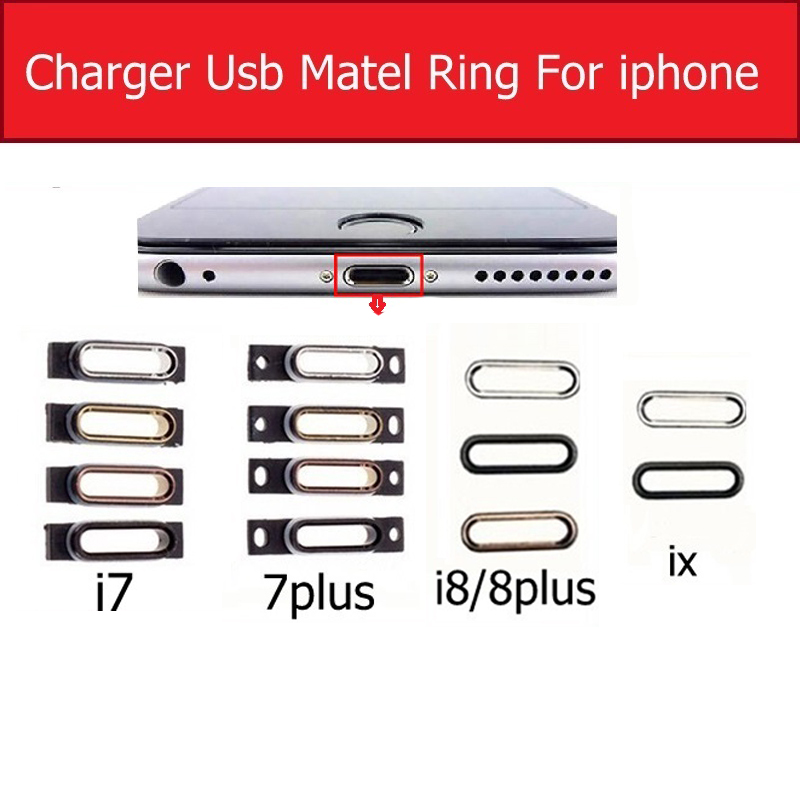 Charger USB Connector Plug Port Metal Stand Hold Ring For IPhone X 7 8 Plus Charging Jack Dock Bracelet Metal Ring Parts