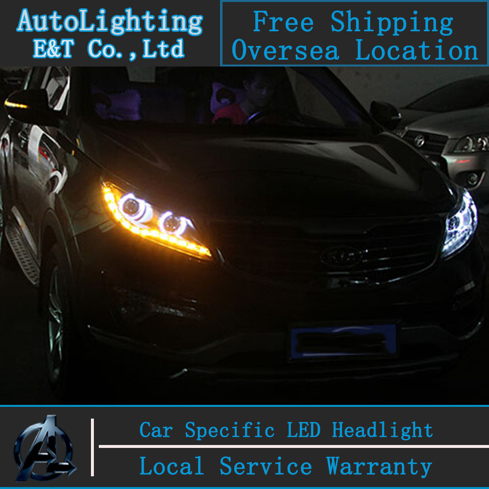 Car styling Head Lamp for Kia Sportage R led headlight assembly 2011-2013 Angel eye led H7 hid with hid kit 2 pcs. new arrival canbus p6 car led head lamp conversion kit bulb 4500lm 2 9000lm led headlight super bright 45w 2 90w car styling