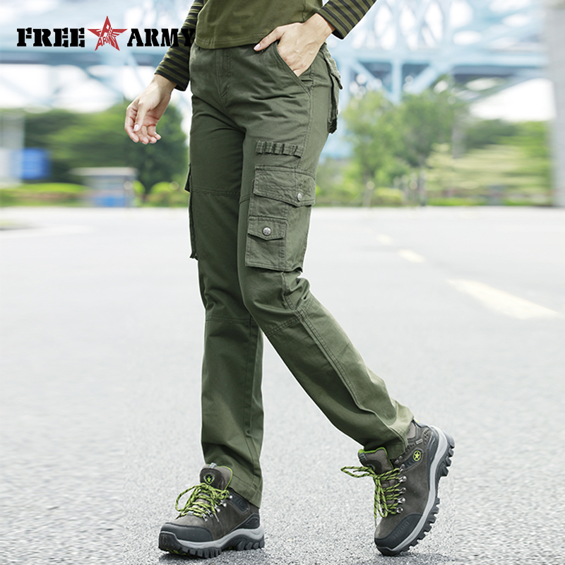 FreeArmy Brand Autumn Women's Cargo Pants With Pockets Loose Trousers Military Green Pants Female Capris Trousers Workwear Pants