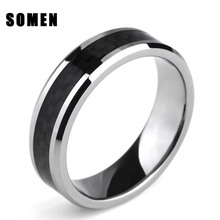 8mm Black Carbon Fiber Inlay Tungsten Metal Rings Comfort Fit Wedding Bands