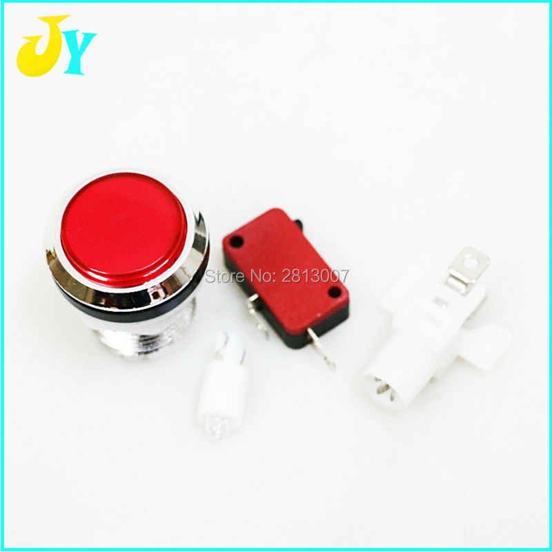 1PCS 크롬 도금 조명 아케이드 푸시 버튼 5V 12v LED 아케이드 시작 푸시 버튼 마이크로 스위치 1P 2P 시작 신용 일시 중지