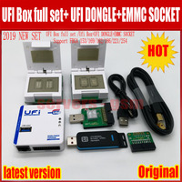 New 2019 original UFI Box full set /Ufi Box+UFI DONGLE+EMMC SOCKET Support FBGA 153/169/162/186/221/254 ful EMMC Service Tool