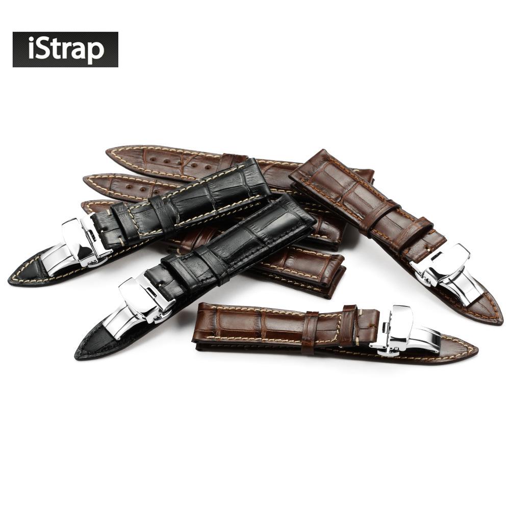 iStrap 18mm 19mm 20mm 21mm 22mm Leather Watch Band, Genuine Cowhide Replacement Watch Strap for Men and Women (Black/Brown)