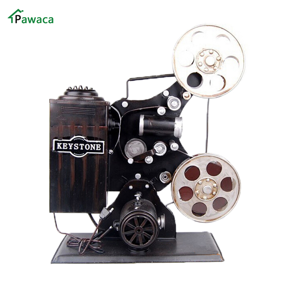 Pawaca Metal Handicraft Vintage Movie Projector Model Antique Retro Home Decoratie Miniatuur Office Ornaments Ancient Decoration
