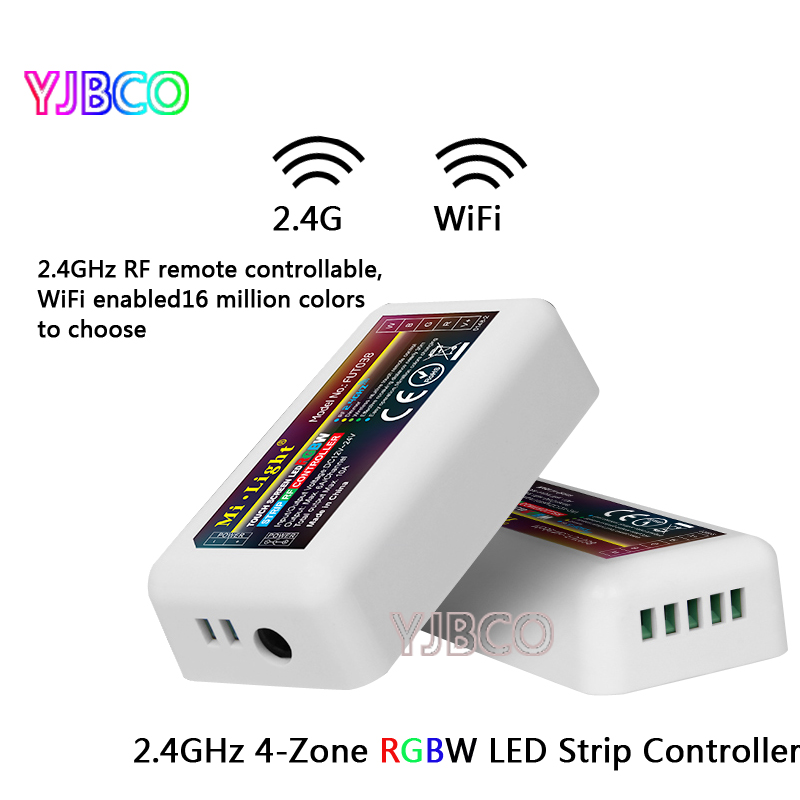 4-Zone FUT038 Mi.Light 2.4G RF Wireless LED Dimmer Controller WiFi Compatible for 5050 3528 RGBW RGB RGBWW Strip Light Dimmer dc12 24v mi light wireless 10a 2 4g 4 zone rf wireless rgbw led remote wifi controller dimmer for 5050 3528 led strip light bulb