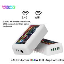 цена на 4-Zone FUT038 Mi.Light 2.4G RF Wireless LED Dimmer Controller WiFi Compatible for 5050 3528 RGBW RGB RGBWW Strip Light Dimmer