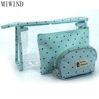 MIWIND Fashion 3pcs Set Waterproof Transparent Cosmetic Bags Women Portable Make Up Bag Dot Printed Travel
